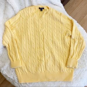 Land's End Yellow Chunky Cable Knit Sweater Large
